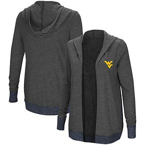Women's Colosseum Charcoal West Virginia Mountaineers Steeplechase Open Hooded Tri-Blend Cardigan