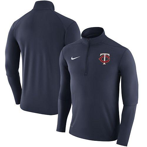 Men's Nike Navy Minnesota Twins Element Half-Zip Performance Top
