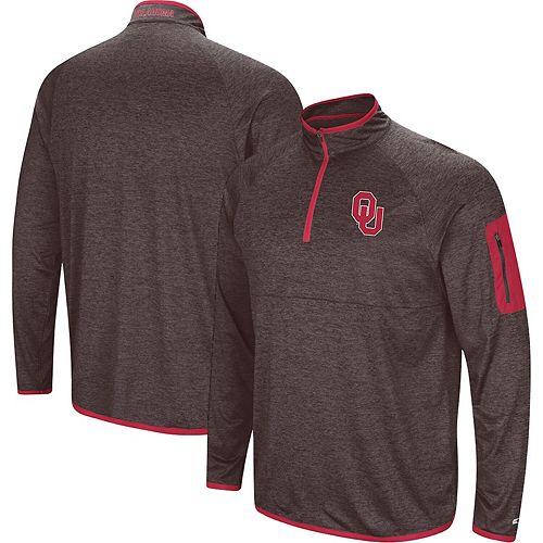 Men's Colosseum Black Oklahoma Sooners Amnesia Quarter-Zip Pullover Jacket