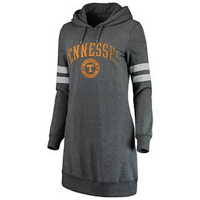 Women's Heathered Gray Tennessee Volunteers Pressbox Hooded Sweatshirt Dress