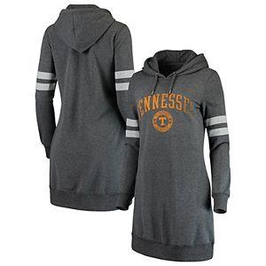 Women's Heathered Gray Tennessee Volunteers Pressbox Hooded Sweatshirt Dress