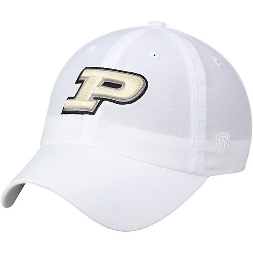 Men's Top of the World White Purdue Boilermakers Primary Logo Staple Adjustable Hat