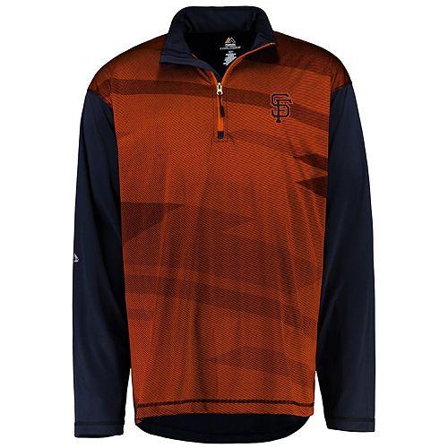 Men's Majestic Black/Orange San Francisco Giants Big & Tall Cool Base Quarter-Zip Sweatshirt