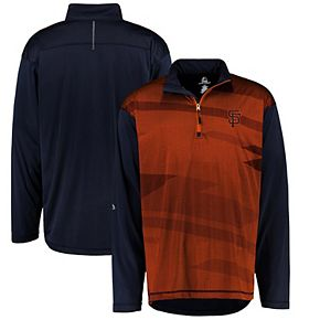 Men's Majestic Black/Orange San Francisco Giants Big & Tall Cool Base Quarter-Zip Sweatshirt