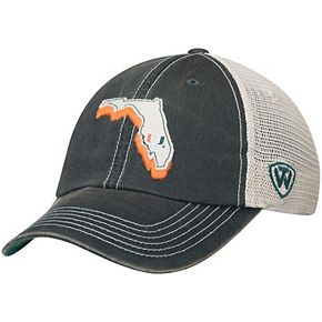 Men's Top of the World Green/Natural Miami Hurricanes United Trucker Team Color Adjustable Hat