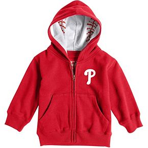 Toddler Soft as a Grape Red Philadelphia Phillies Baseball Print Full-Zip Hoodie