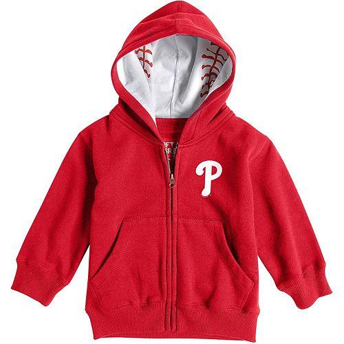 Toddler Soft as a Grape Red Philadelphia Phillies Baseball Print Full-Zip Hoodie