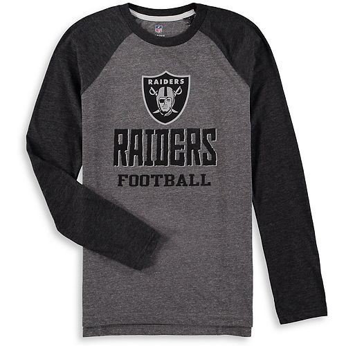 Youth Heathered Gray/Heathered Black Oakland Raiders Classic Gridiron Raglan Tri-Blend Long Sleeve T-Shirt