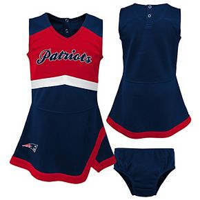 Girls Toddler Navy/Red New England Patriots Cheer Captain Jumper Dress