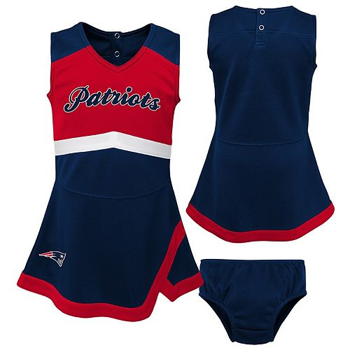 Girls Toddler Navy/Red New England Patriots Cheer Captain Jumper Dress
