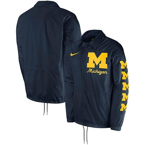 Men's Nike Navy Michigan Wolverines Replica Coaches Performance Full-Snap Jacket