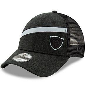 Men's New Era Heathered Black Oakland Raiders Black Label Scale Trucker 9FORTY Snapback Adjustable Hat