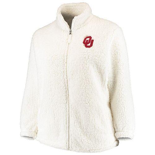 Women's Cream Oklahoma Sooners Plus Size Sherpa Full-Zip Jacket