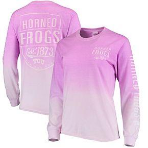 Women's Blue 84 Purple TCU Horned Frogs Iniquity Ombre Oversized Long Sleeve T-Shirt