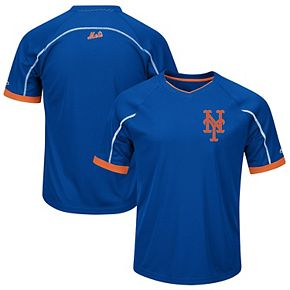 Men's Majestic Royal/Orange New York Mets Big & Tall Emergence V-Neck T-Shirt