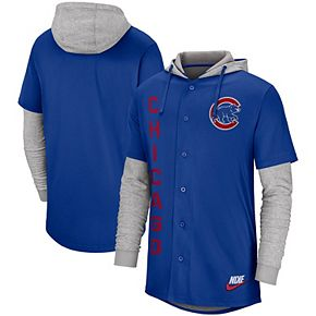 Men's Nike Royal Chicago Cubs Jersey Button-Up Hoodie