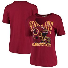 Women's Junk Food Burgundy Washington Redskins Fashion Cut Out V-Neck T-Shirt