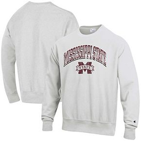 Men's Champion Gray Mississippi State Bulldogs Arch Over Logo Reverse Weave Pullover Sweatshirt