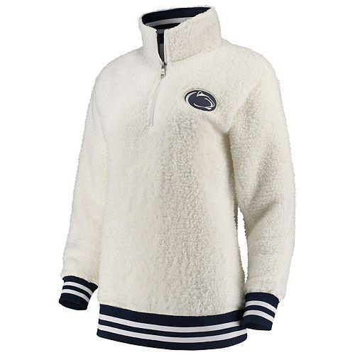 Women's Cream Penn State Nittany Lions Varsity Banded Sherpa Quarter-Zip Pullover Jacket