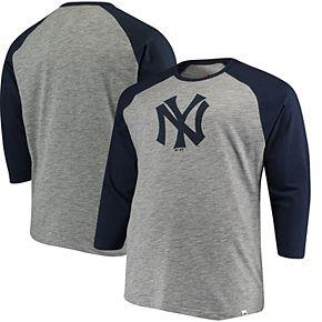 Men's Majestic Gray/Navy New York Yankees Big & Tall Two to One Margin 3/4-Sleeve Raglan T-Shirt