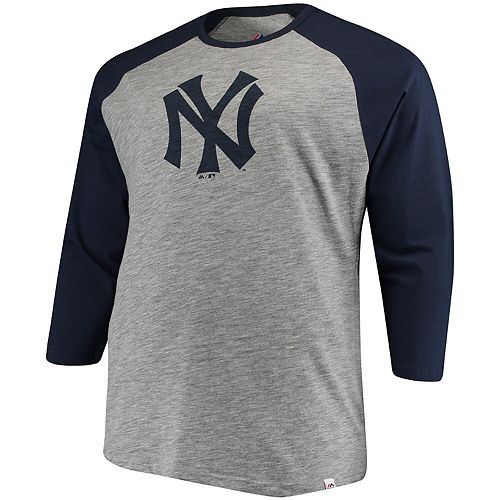 Men's Majestic Gray/Navy New York Yankees Big & Tall Two to One Margin 3/4-Sleeve Raglan T-Shirt