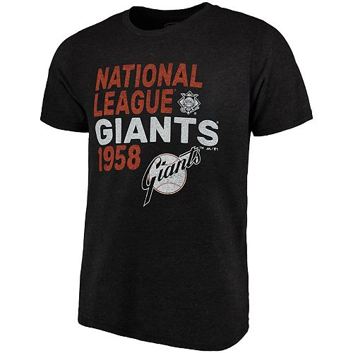 Men's Majestic Threads Black San Francisco Giants Throwback Cooperstown Collection Tri-Blend T-Shirt