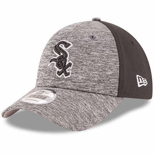 Men's New Era Heathered Gray/Black Chicago White Sox Shadowed Team Logo 9FORTY Adjustable Hat