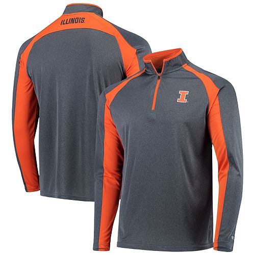 Men's Colosseum Heathered Navy Illinois Fighting Illini The J. Peterman Quarter-Zip Pullover Jacket