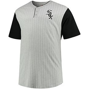 Men's Majestic Gray/Black Chicago White Sox Big & Tall Life or Death Pinstripe Henley T-Shirt