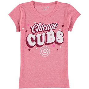 Girls Youth 5th & Ocean by New Era Pink Chicago Cubs Stars Tri-Blend V-Neck T-Shirt