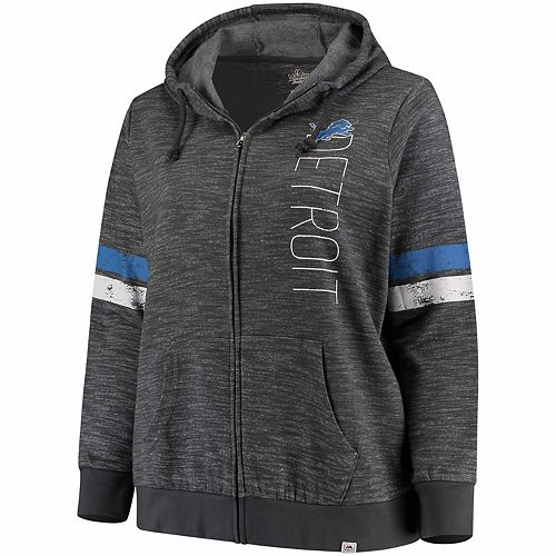 Women's Majestic Gray Detroit Lions Plus Size Athletic Tradition Team Wordmark Full-Zip Hoodie