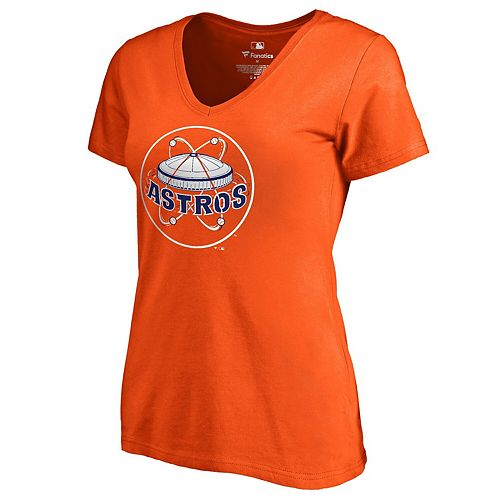 Women's Fanatics Branded Orange Houston Astros Cooperstown Collection Forbes V-Neck T-Shirt