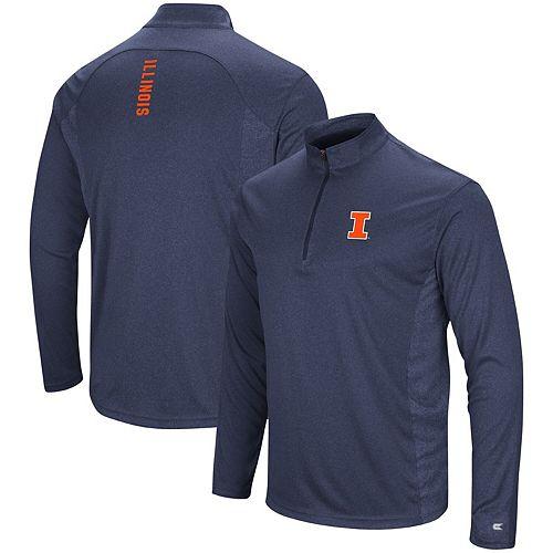 Men's Colosseum Navy Illinois Fighting Illini Audible Windshirt Quarter-Zip Pullover Jacket