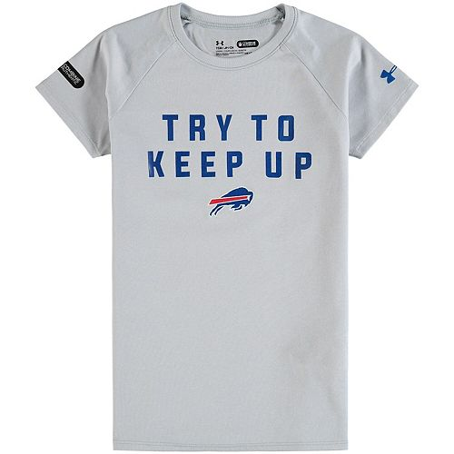 Girls Under Armour Gray Buffalo Bills Try To Keep Up Tech T-Shirt