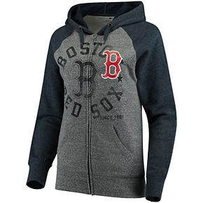 Women's 5th & Ocean by New Era Heathered Gray/Navy Boston Red Sox Tri-Blend Raglan Fleece Full-Zip Hoodie