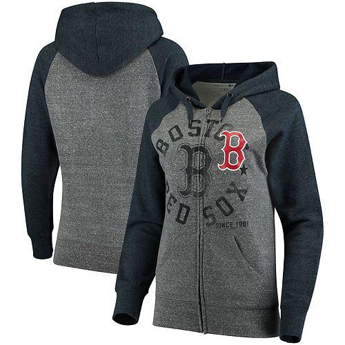 Women's 5th & Ocean by New Era Heathered Gray/Navy Boston Red Sox Tri-Blend Raglan Fleece Full-Zip Hoodie