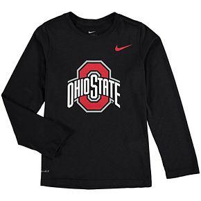Youth Nike Heathered Black Ohio State Buckeyes Legend Logo Long Sleeve Performance T-Shirt