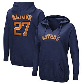 Women's Majestic Jose Altuve Navy Houston Astros Authentic Name & Number Pullover Hoodie
