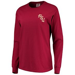 Women's Garnet Florida State Seminoles Comfort Colors Campus Skyline Long Sleeve Oversized T-Shirt