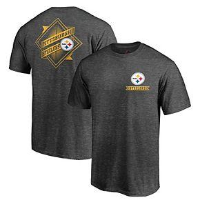 Men's Majestic Heathered Charcoal Pittsburgh Steelers Iconic Diamond Scroll T-Shirt