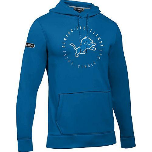 Men's Under Armour Blue Detroit Lions Combine Authentic Demand Excellence Pullover Hoodie