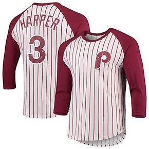 Men's Majestic Threads Bryce Harper White/Burgundy Philadelphia Phillies Softhand Cotton Pinstripe 3/4-Sleeve Raglan T-Shirt
