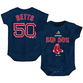 Newborn & Infant Majestic Mookie Betts Navy Boston Red Sox Stitched Player Name & Number Bodysuit