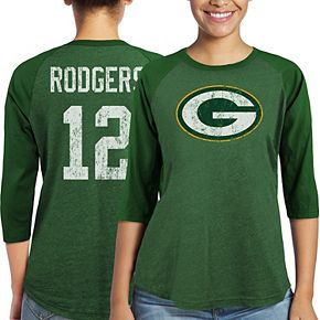 Women's Majestic Aaron Rodgers Green Green Bay Packers Player Name & Number Tri-Blend Three-Quarter Sleeve T-Shirt