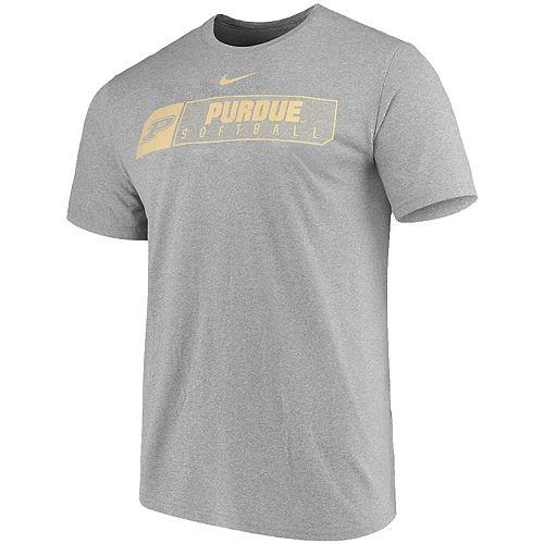 Men's Nike Heathered Gray Purdue Boilermakers Softball Primary Sport Logo Performance T-Shirt
