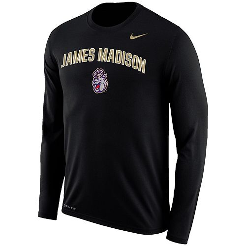 Men's Nike Black James Madison Dukes Arch Over Logo Long Sleeve Performance T-Shirt