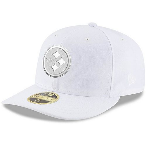 Men's New Era Pittsburgh Steelers White on White Low Profile 59FIFTY Fitted Hat
