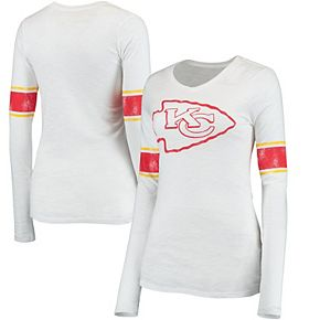 Juniors White Kansas City Chiefs Team Leader V-Neck Long Sleeve T-Shirt