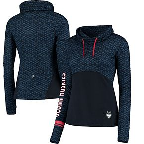 Women's Colosseum Navy UConn Huskies Scaled Cowl Neck Pullover Hoodie