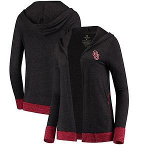 Women's Colosseum Charcoal Oklahoma Sooners Steeplechase Open Hooded Tri-Blend Cardigan